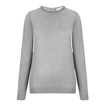 Buy Whistles Embellished Neck Slim Knit Jumper, Dark Grey Online at johnlewis.com