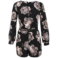 Buy Miss Selfridge Floral Print Long-sleeved Playsuit, Black Online at johnlewis.com