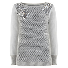 Buy Mint Velvet Cluster Bead Knit Jumper, Grey Online at johnlewis.com
