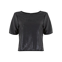 Buy Mint Velvet Sequin T-Shirt, Black Online at johnlewis.com