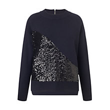 Buy Whistles Sequin Panel Milano Boxy Jumper, Navy Online at johnlewis.com