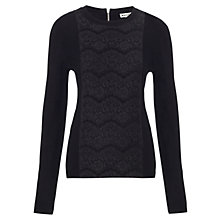 Buy Whistles Lace Panel Front Jumper, Black Online at johnlewis.com
