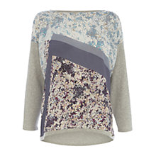 Buy Wishbone Emma Silk Patch Knit Jumper, Grey Online at johnlewis.com