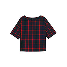 Buy Mango Check Boxy Blouse, Navy Online at johnlewis.com
