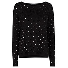 Buy Mango Embossed Polka-Dot Sweatshirt, Black Online at johnlewis.com