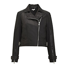 Buy Whistles Tex Cropped Leather Biker Jacket, Black Online at johnlewis.com
