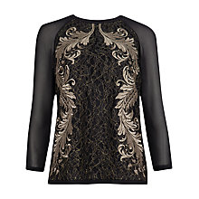 Buy Ted Baker Embroidered Front Lace Top, Gold Online at johnlewis.com