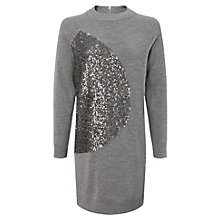 Buy Whistles Sequin Panel Knitted Dress, Grey Online at johnlewis.com