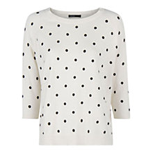 Buy Mango Polka-Dot Wool-Blend Jumper, Natural White Online at johnlewis.com