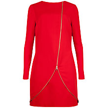 Buy Ted Baker Slashed Neckline Zip Front Tunic, Light Red Online at johnlewis.com