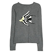 Buy Mango Jacquard Wool-Blend Jumper, Medium Grey Online at johnlewis.com