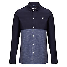 Buy Fred Perry Chambray Colour Block Shirt, Blue Granite Online at johnlewis.com