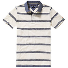 Buy Tommy Hilfiger Felix Stripe Polo Shirt, Snow White/Mood Indigo Online at johnlewis.com