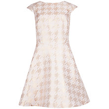 Buy Ted Baker Houndstooth Pleated Dress, Straw Online at johnlewis.com