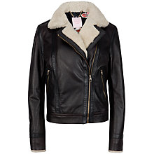 Buy Ted Baker Shearling Trim Leather Jacket, Bronze Online at johnlewis.com