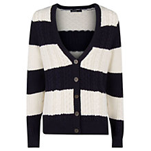 Buy Mango Striped Cable Knit Cardigan, Navy Online at johnlewis.com