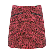 Buy Warehouse Double Zip Tweed Skirt, Pink Patterned Online at johnlewis.com