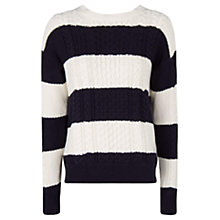 Buy Mango Striped Cable Knit Jumper, Navy Online at johnlewis.com