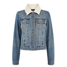 Buy Warehouse Denim Borg Colar Jacket, Mid Wash Denim Online at johnlewis.com
