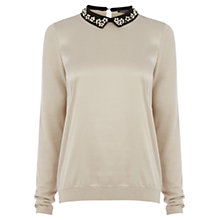 Buy Warehouse Bead Collar Jumper, Cream Online at johnlewis.com