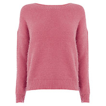 Buy Warehouse Simple Hairy Jumper, Dark Pink Online at johnlewis.com