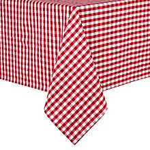 Buy John Lewis Gingham Check Red Tablecloth Online at johnlewis.com