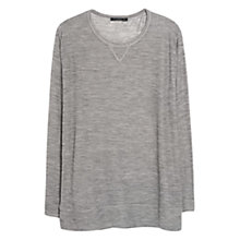 Buy Violeta by Mango Ribbed Wool Blend T-Shirt, Light Pastel Brown Online at johnlewis.com