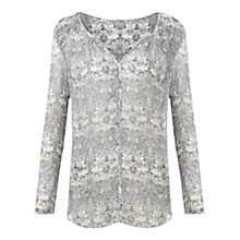 Buy Jigsaw William Morris Print Blouse, Navy Online at johnlewis.com