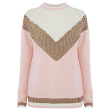Buy Warehouse 60s V Block Jumper, Light Pink Online at johnlewis.com