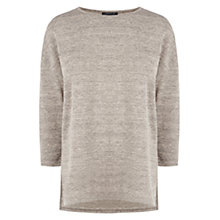 Buy Warehouse Marl Split Side Top, Beige Online at johnlewis.com