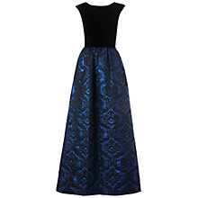 Buy Aidan Mattox Velvet Brocade Gown, Black/Blue Online at johnlewis.com