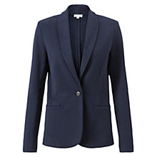 Buy Jigsaw Shawl Collar Loopback Blazer, Navy Online at johnlewis.com