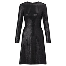 Buy Jigsaw Flocked Sequin Dress, Black Online at johnlewis.com