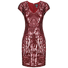 Buy Adrianna Papell V-Neck Short Beaded Dress, Chianti Online at johnlewis.com