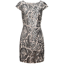 Buy Adrianna Papell Cap Sleeve Sequin Dress, Blush/Gunmetal Online at johnlewis.com