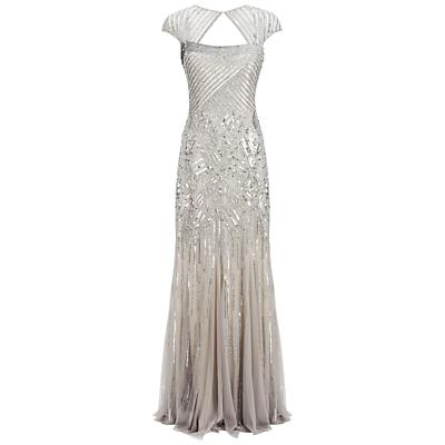 Adrianna Papell Long Beaded Dress Platinum £330.00 AT vintagedancer.com