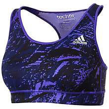 Buy Adidas Techfit Training Bra, Purple Online at johnlewis.com