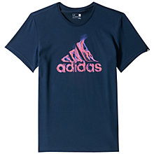 Buy Adidas Flame Logo Crew Neck T-Shirt, Navy Online at johnlewis.com