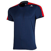 Buy Adidas Techfit Base Training T-Shirt, Navy/Red Online at johnlewis.com