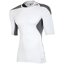 Buy Adidas Techfit Climacool Short Sleeve Top, White/Vista Grey Online at johnlewis.com