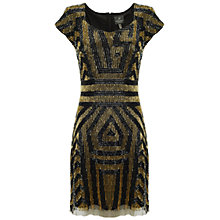 Buy Adrianna Papell Beaded Cap Sleeve Dress, Black/Gold Online at johnlewis.com