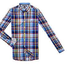 Buy Tommy Hilfiger Axel Long Sleeved Checked Cotton Shirt, Blue Yonder Online at johnlewis.com