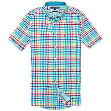 Buy Tommy Hilfiger Kris Short Sleeve Cotton Shirt, Cosmo Turquoise Online at johnlewis.com
