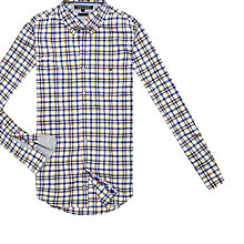 Buy Tommy Hilfiger Russel Slim Fit Check Shirt, Classic White/Sunglow Online at johnlewis.com