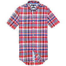Buy Tommy Hilfiger Burrow Check Shirt, Carmine/Classic White Online at johnlewis.com