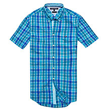 Buy Tommy Hilfiger Hanover Short Sleeve Cotton Shirt, Algiers Blue/Green Blue Slate Online at johnlewis.com