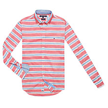 Buy Tommy Hilfiger Nardo Striped Cotton Shirt, Barbados Cherry / Blue Yonder Online at johnlewis.com