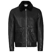 Buy Reiss Jake Textured Collar Lamb Leather Jacket, Black Online at johnlewis.com