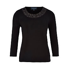 Buy Viyella Sequin Neckline Jersey Top, Black Online at johnlewis.com
