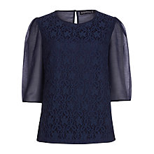 Buy Sugarhill Boutique Lace Crepe Blouse, Navy Online at johnlewis.com